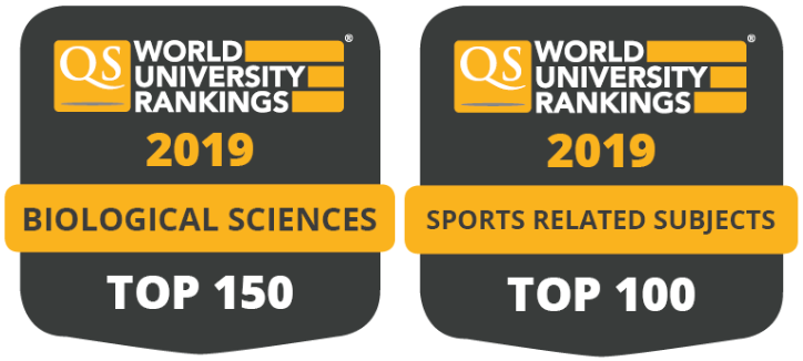 Top 150 for Biological Science and Top 100 for Sport Science. QS World Ranking 2019