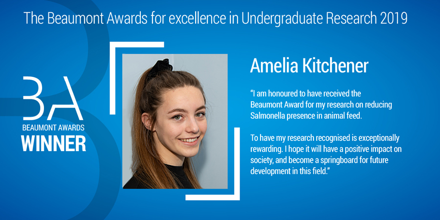 This is an image of Beaumont Award 2019 winner Amelia Kitchener. Amelia is pictured looking at the camera and smiling.