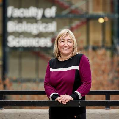 Professor karen birch ;ictured outside the Faculty of Biological Sciences