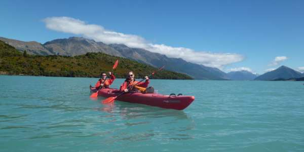 Student in kayak on lake, on study abroad